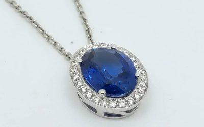 18ct White Gold Sapphire & Diamond Pendant